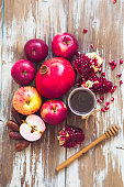 Pomegranate, honey and apple