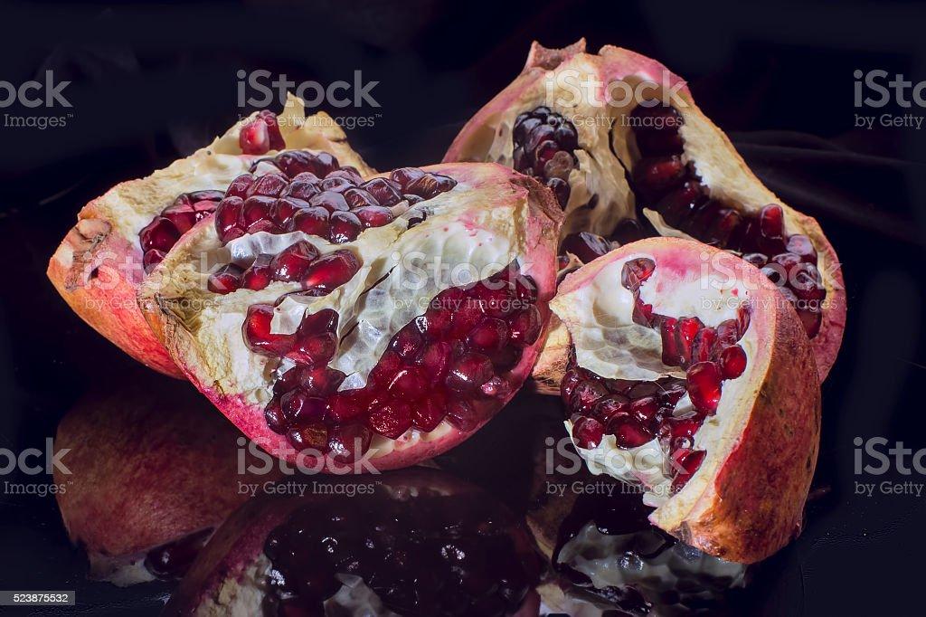 Pomegranate isolated on black stock photo