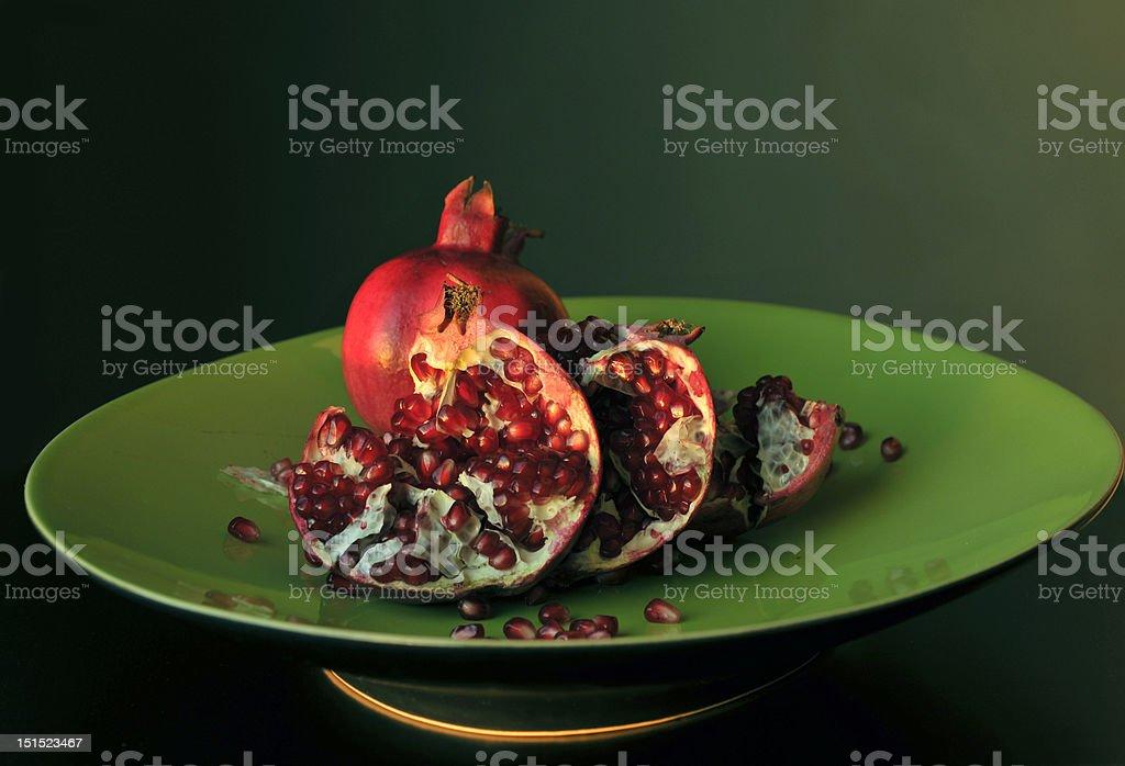 Pomegranate on Green royalty-free stock photo