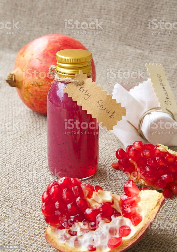 Pomegranate seed body scrub stock photo