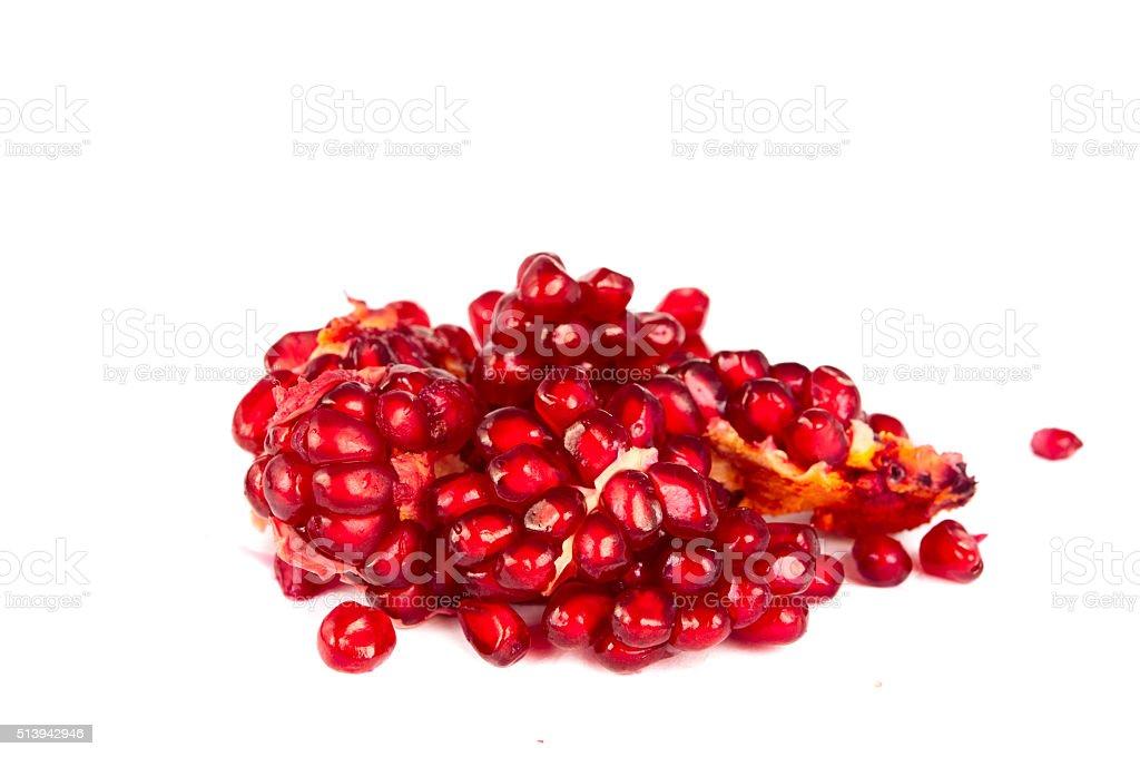 pomegranate seeds isolated stock photo