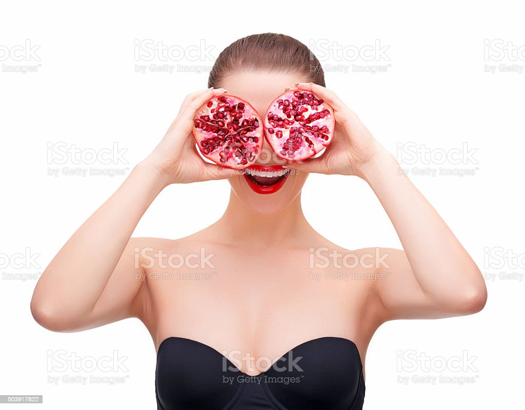 pomegranate smile stock photo