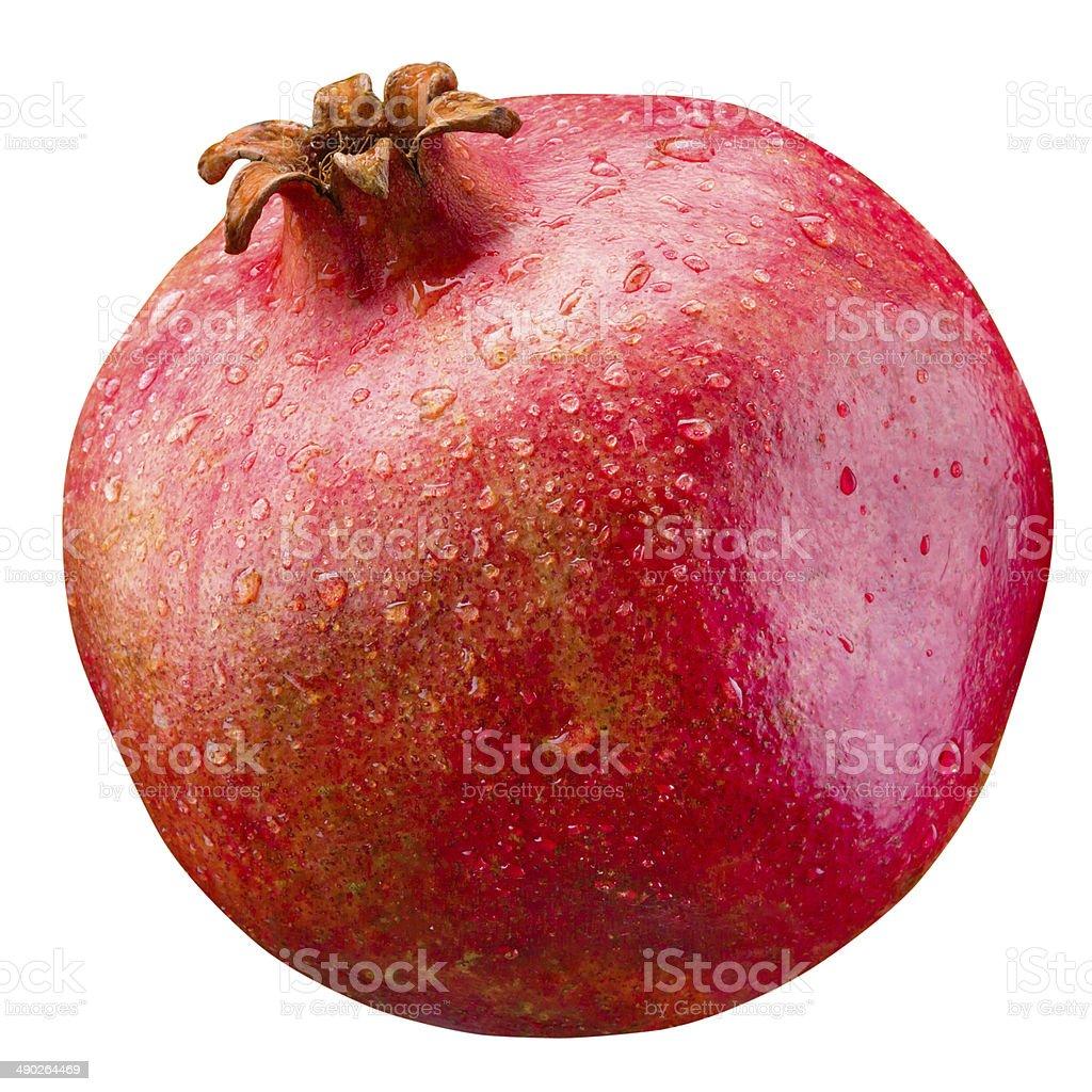 Pomegranate. Wet fruit isolated on white background stock photo