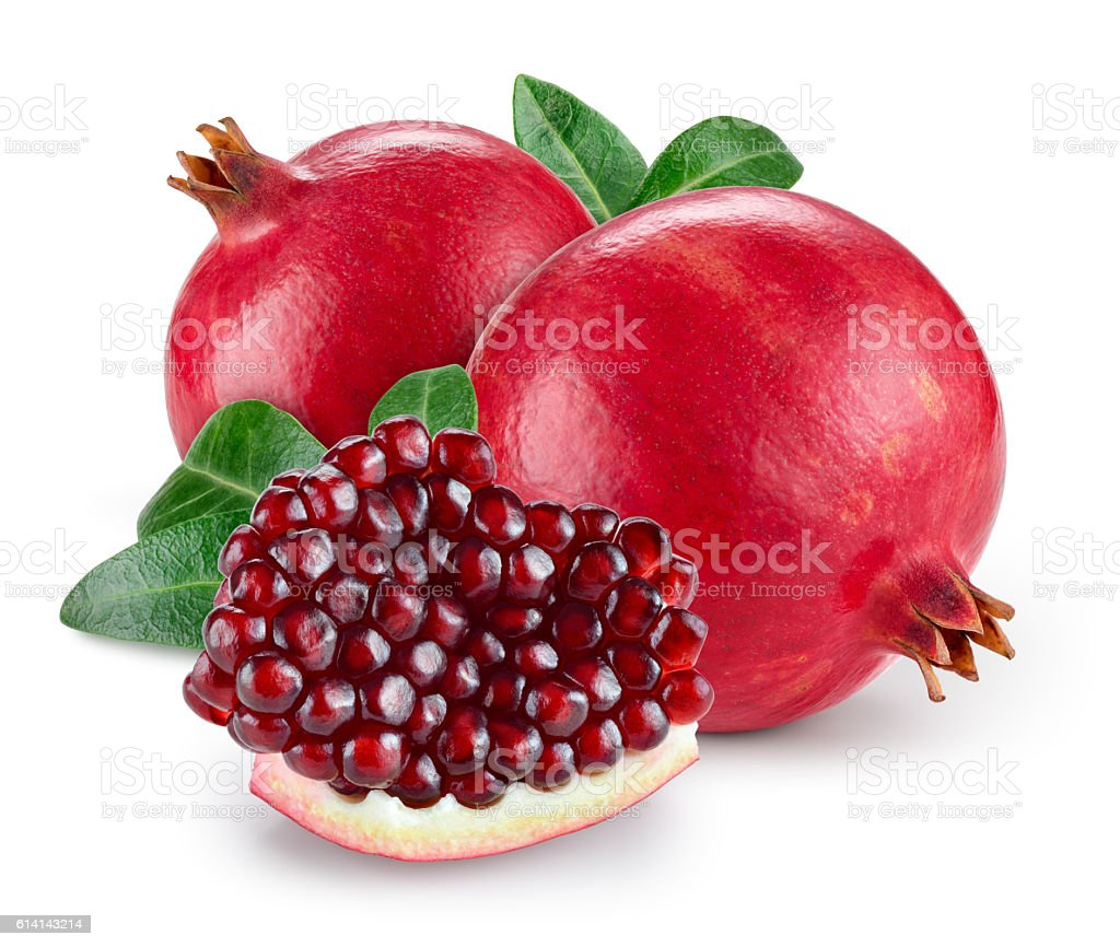 Pomegranate with leaves isolated on white background. stock photo