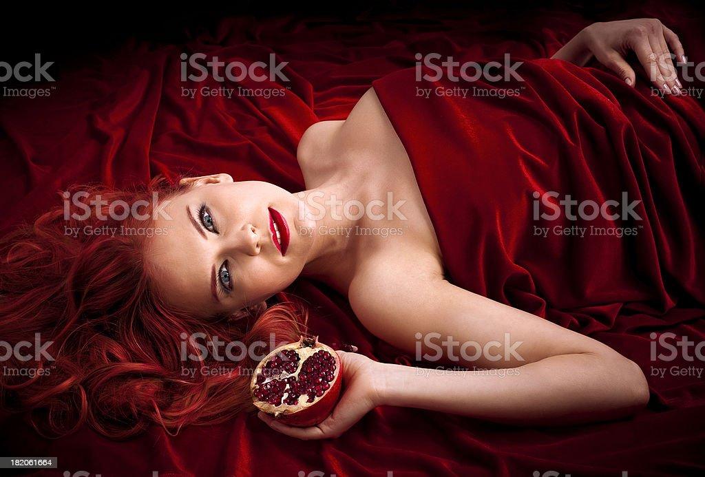 Pomegranate woman stock photo