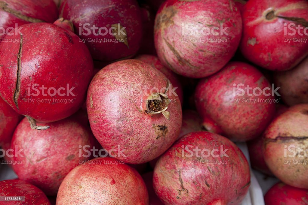 Pomegranates from farmers market at Thanksgiving royalty-free stock photo