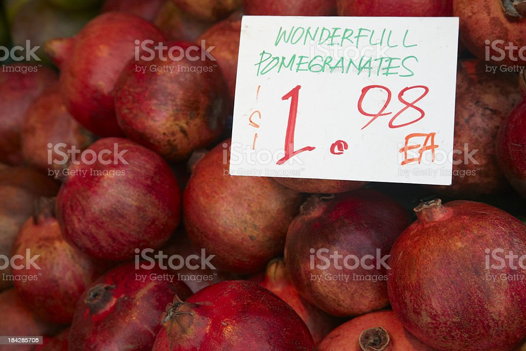 Pomegranates in Market, Fruit, For Sale, Sign, Punica granatum royalty-free stock photo