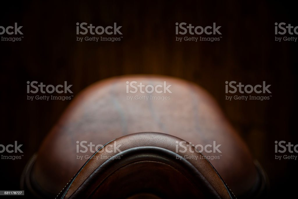 Pommel Close-up of  an English Show Jumping Saddle stock photo