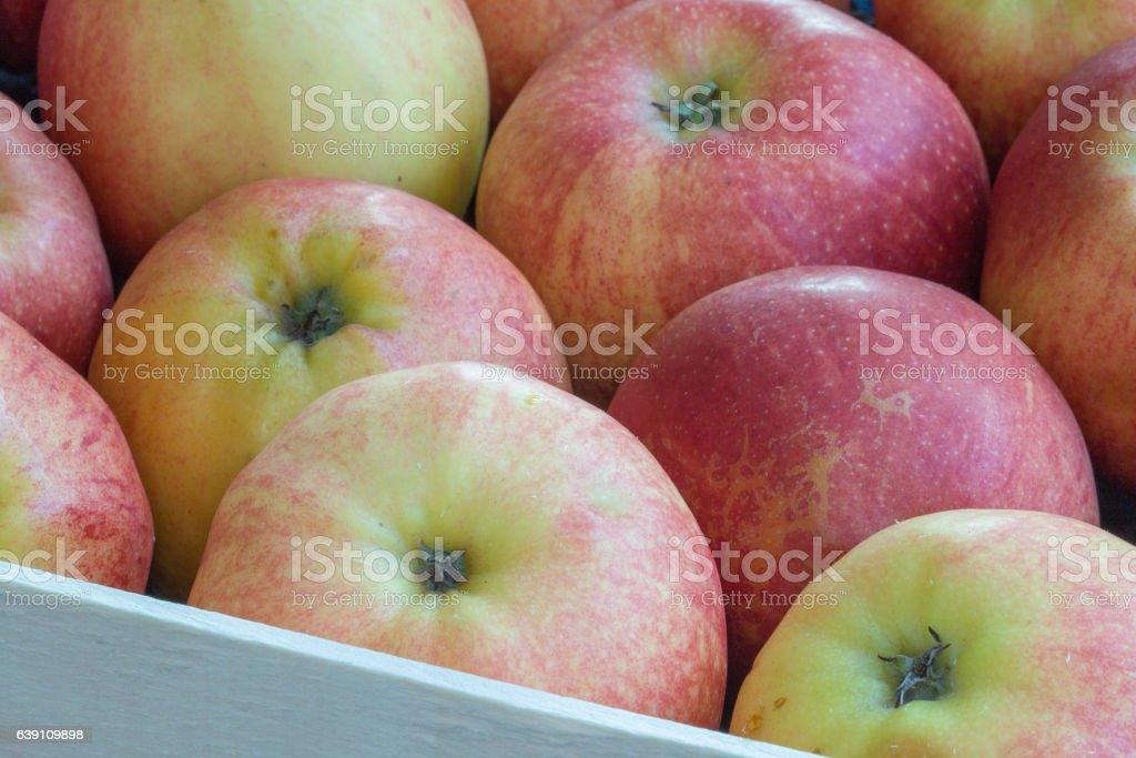 Pommes de couleurs différentes dans un cageot stock photo