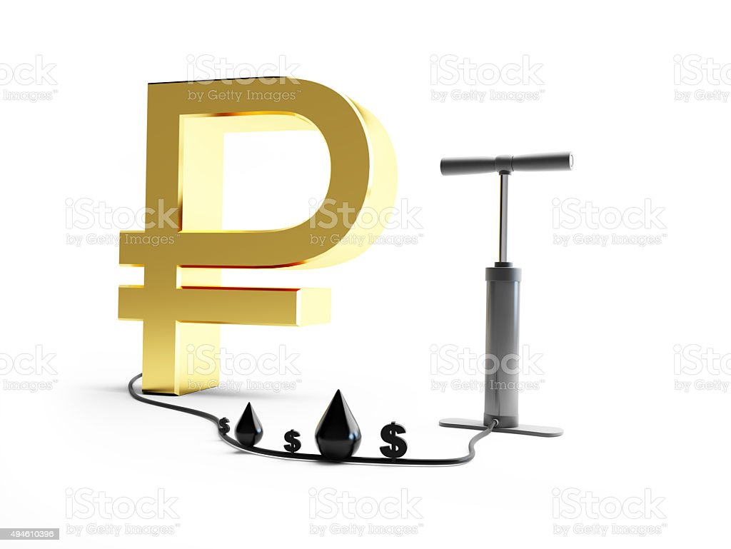 pomp ruble dollar oil. 3d Illustrations on a white background stock photo