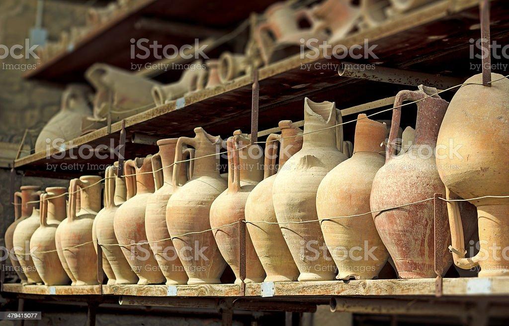 Pompeii amphoras stock photo