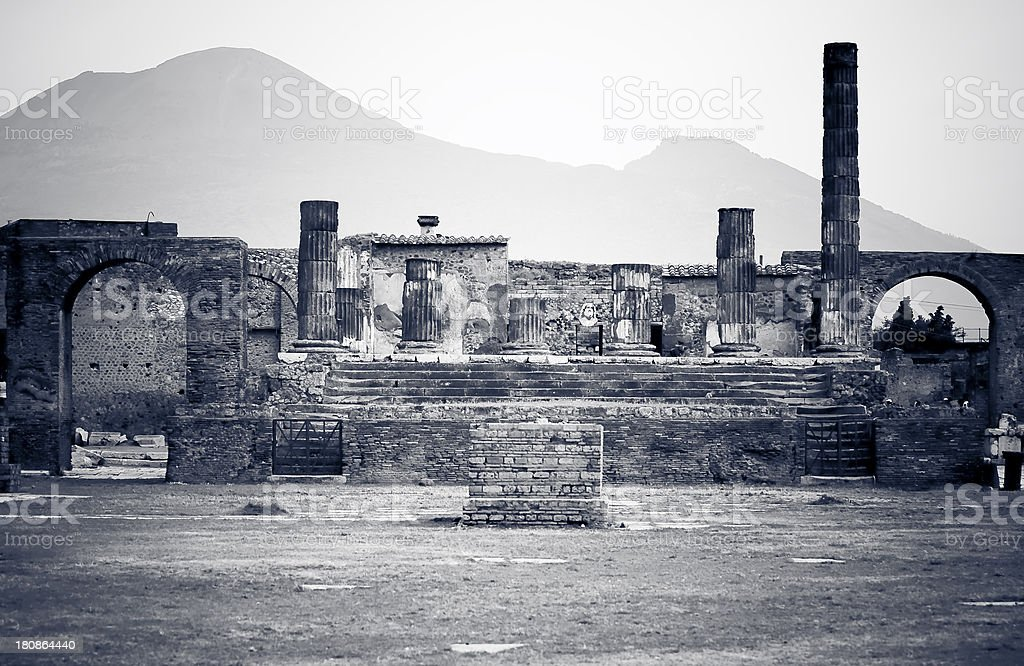 Pompeii and Vesuvius royalty-free stock photo