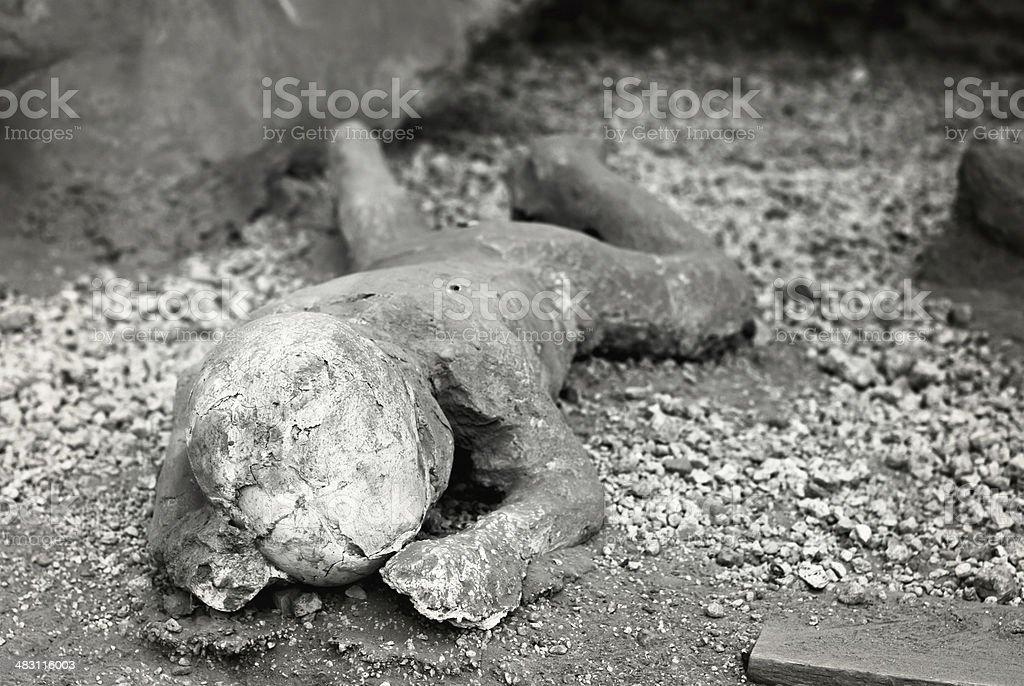 Pompeii. Child victim of the eruption. stock photo