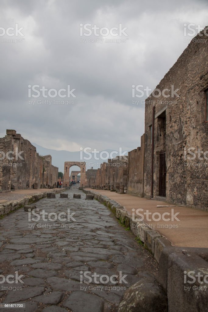 Pompeii in winter, Italy stock photo