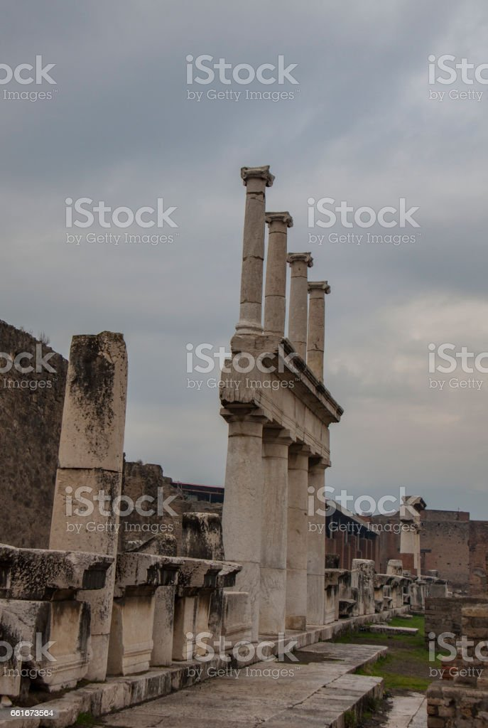 Pompeii in winter, Naples stock photo