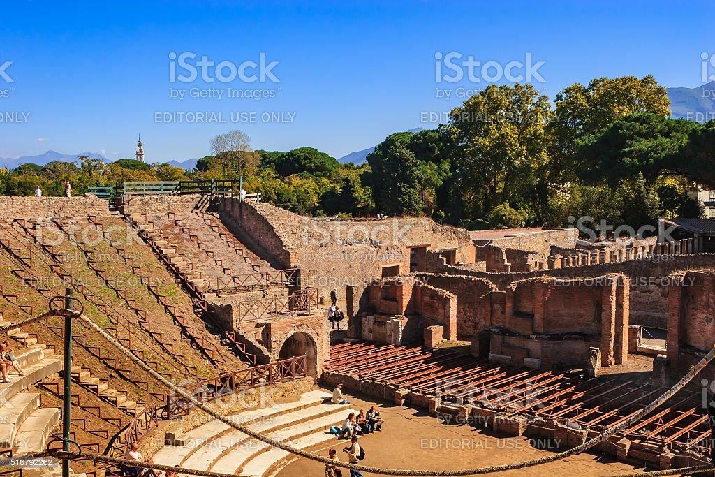 Pompeii, Italy - amphitheatre in the shadow of Mount Vesuvius stock photo