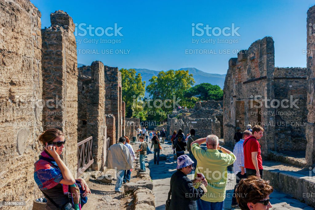 Pompeii, Italy - Tourists at the ancient ruined city stock photo