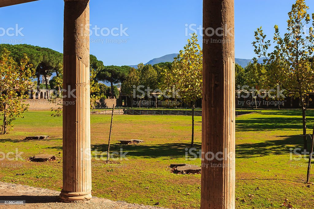Pompeii, Italy - View of Vesuvius from ancient villa stock photo