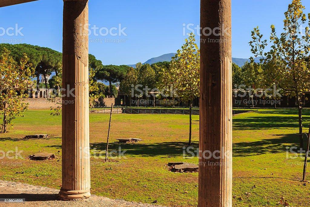 Pompeii, Italy - View of Vesuvius from ancient villa stock photo
