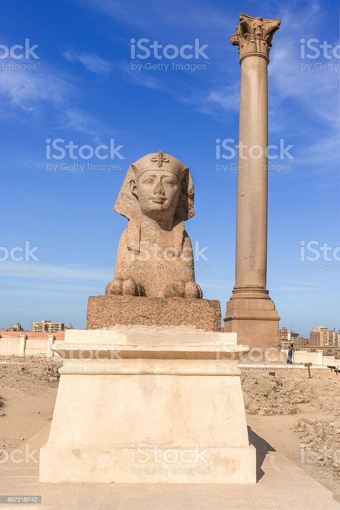 Pompey's Pillar in center of Alexandria city, Egypt stock photo