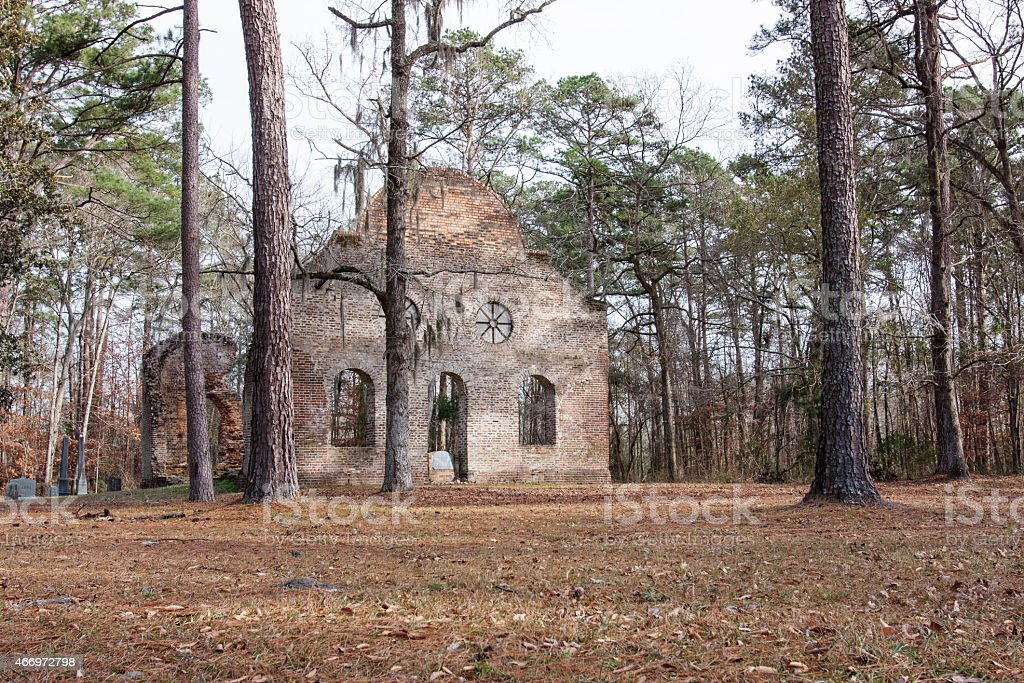 Pon Pon Chapel of Ease, the Burnt Church stock photo