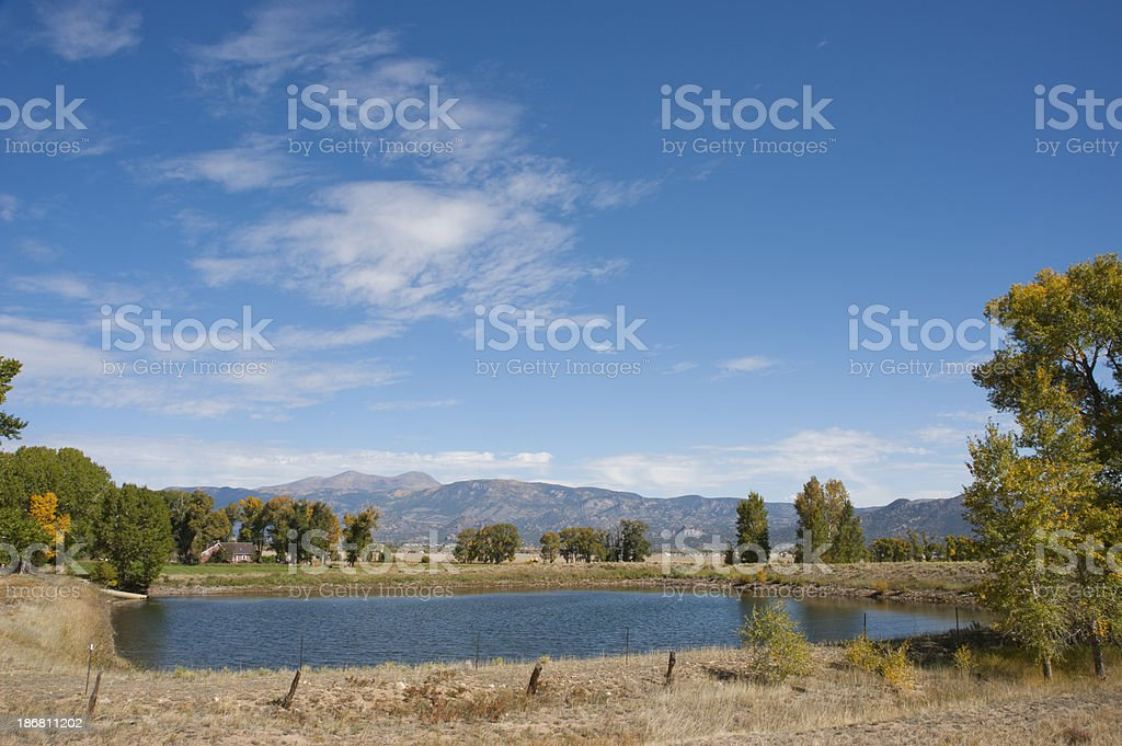Pond and Buffalo Peaks Mountain in Fall stock photo