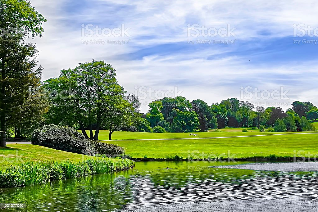 Pond and park near Leeds Castle in Kent stock photo
