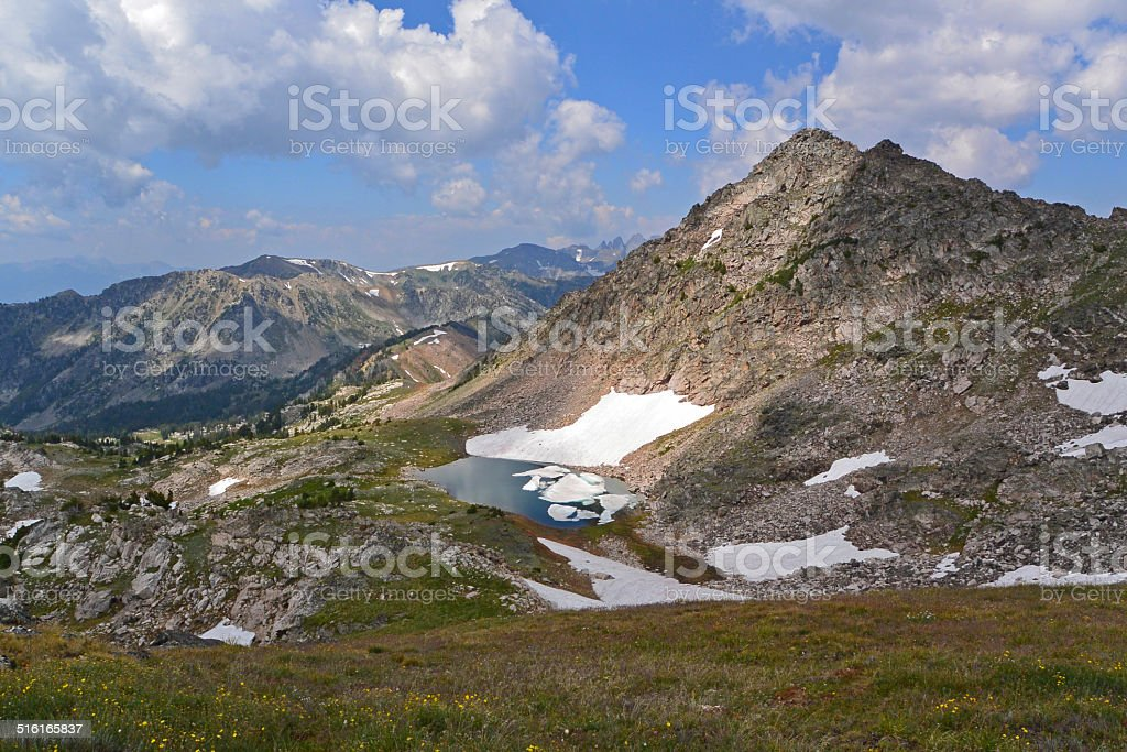Pond and Peak in the Absaroka-Beartooth Wilderness stock photo