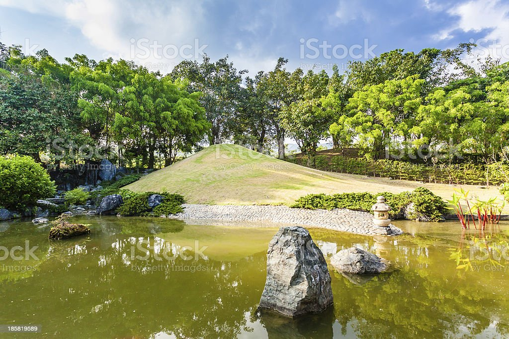 Pond and Water Landscape in Japanese Garden royalty-free stock photo