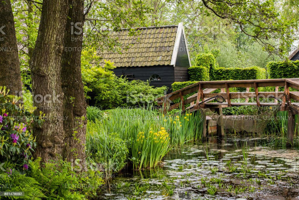 Pond at Giethoorn stock photo