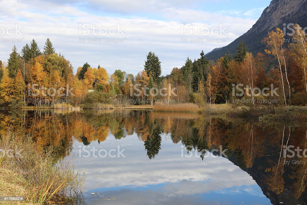 Pond at Oberstdorf in Allgau. Bavaria. Germany stock photo