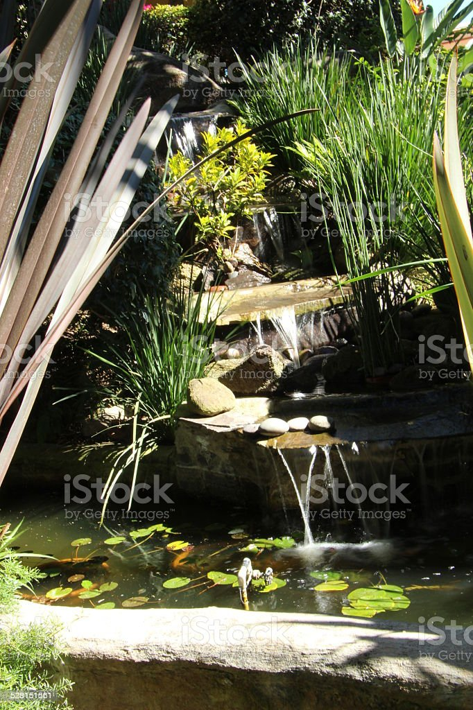 Pond at the end of a waterfall stock photo