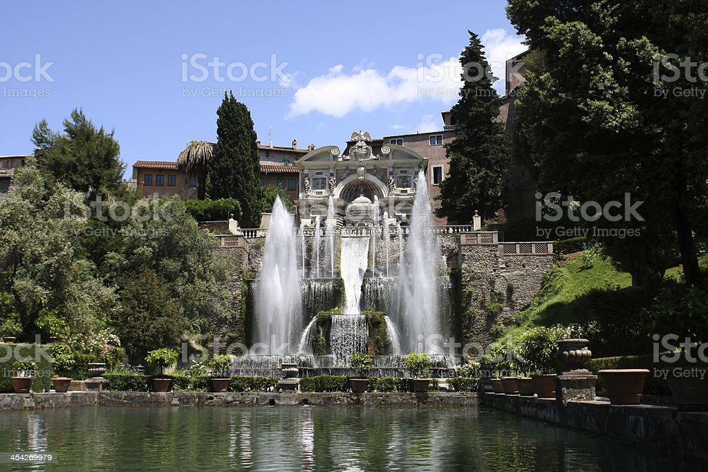 Pond fronting fountains at Villa dEste in Tivoli, Italy stock photo