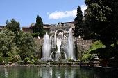 Pond fronting fountains at Villa dEste in Tivoli, Italy