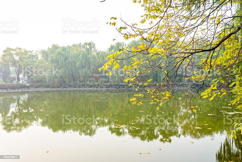 Pond in a haze weather stock photo