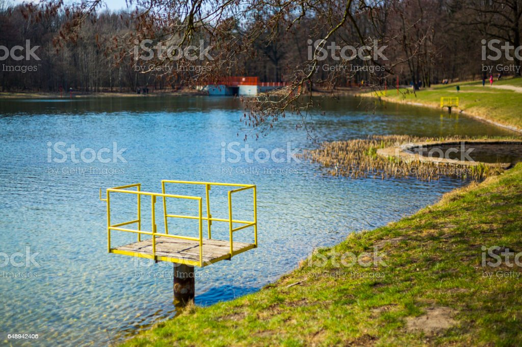 Pond in a Lagiewniki forest in the city of Lodz stock photo