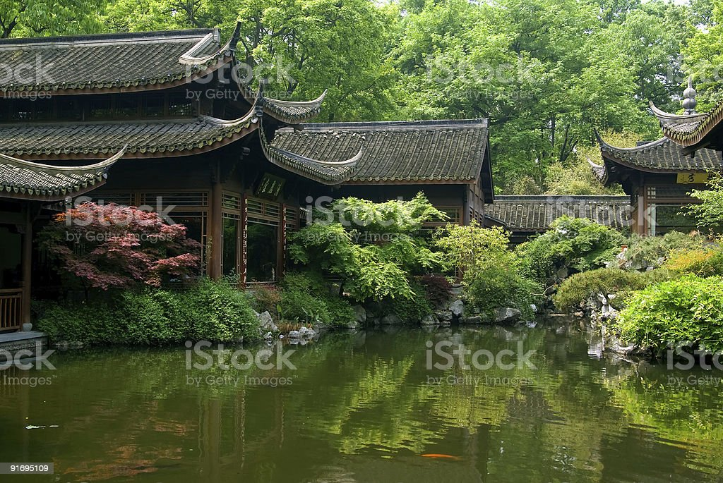 Pond in classic chinese garden stock photo