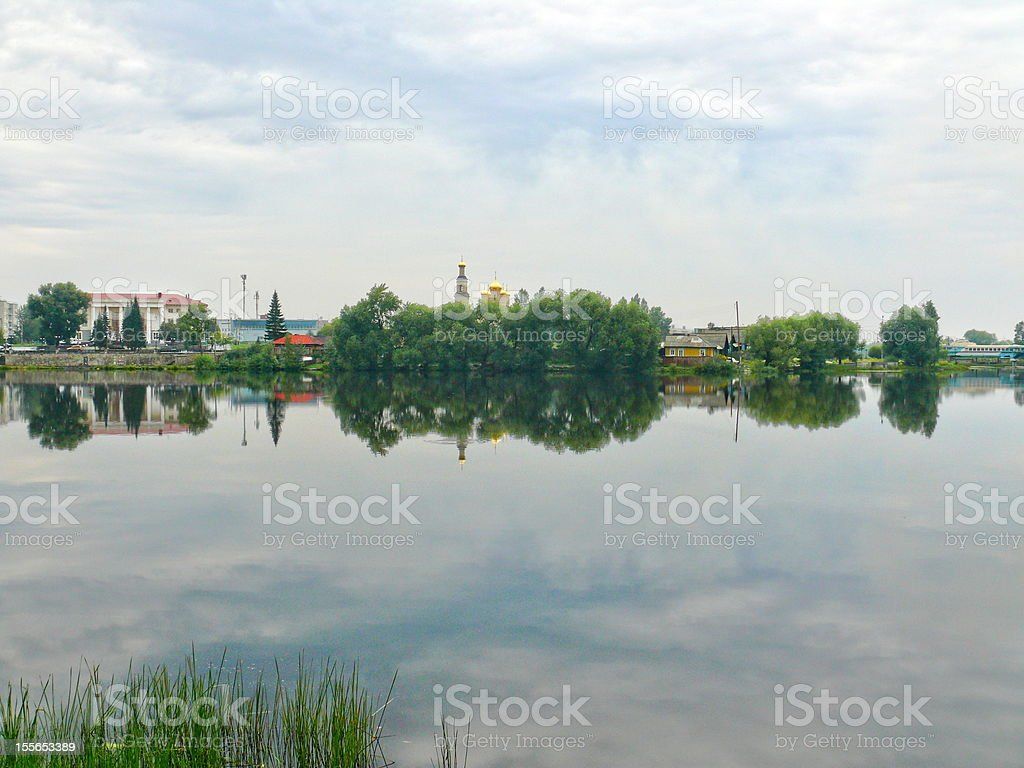 Pond in the center of Kystym town, Chelyabinsk area stock photo