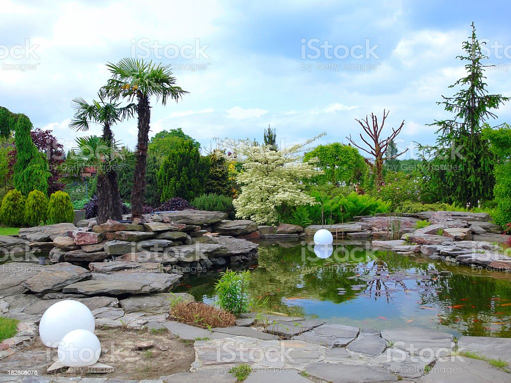 Pond in the garden royalty-free stock photo