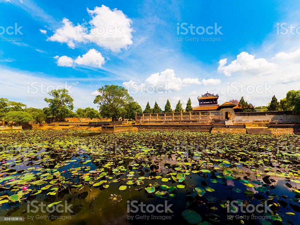 Pond in the Imperial City in Hue, Vietnam stock photo