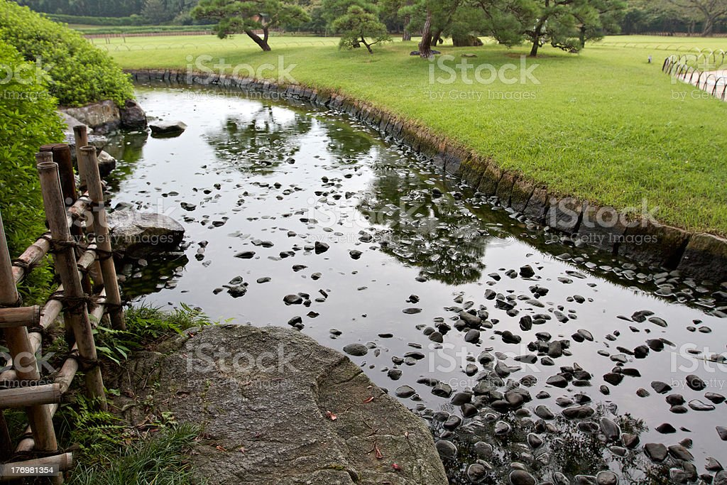Pond surface in Korakuan Garden stock photo