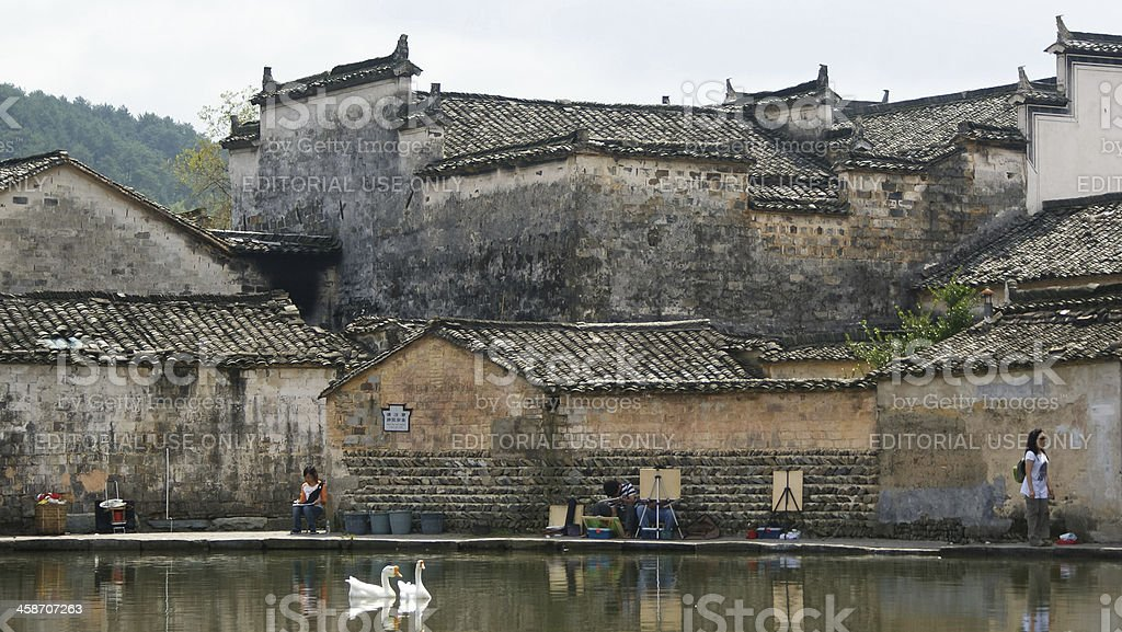 pond with ancient buildings reflection in Hong Cun, Anhui, China royalty-free stock photo