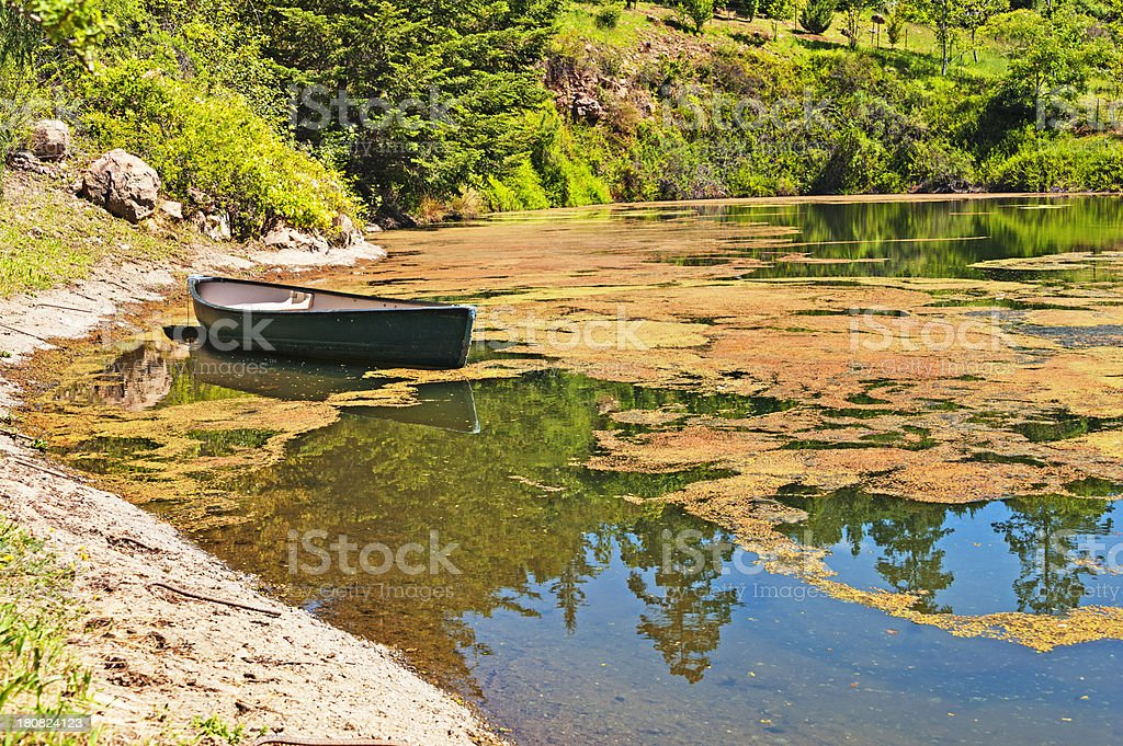 Pond with Rowboat royalty-free stock photo