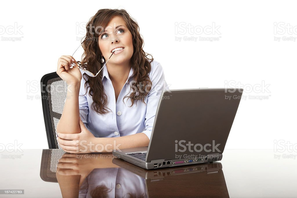 Pondering Businesswoman royalty-free stock photo