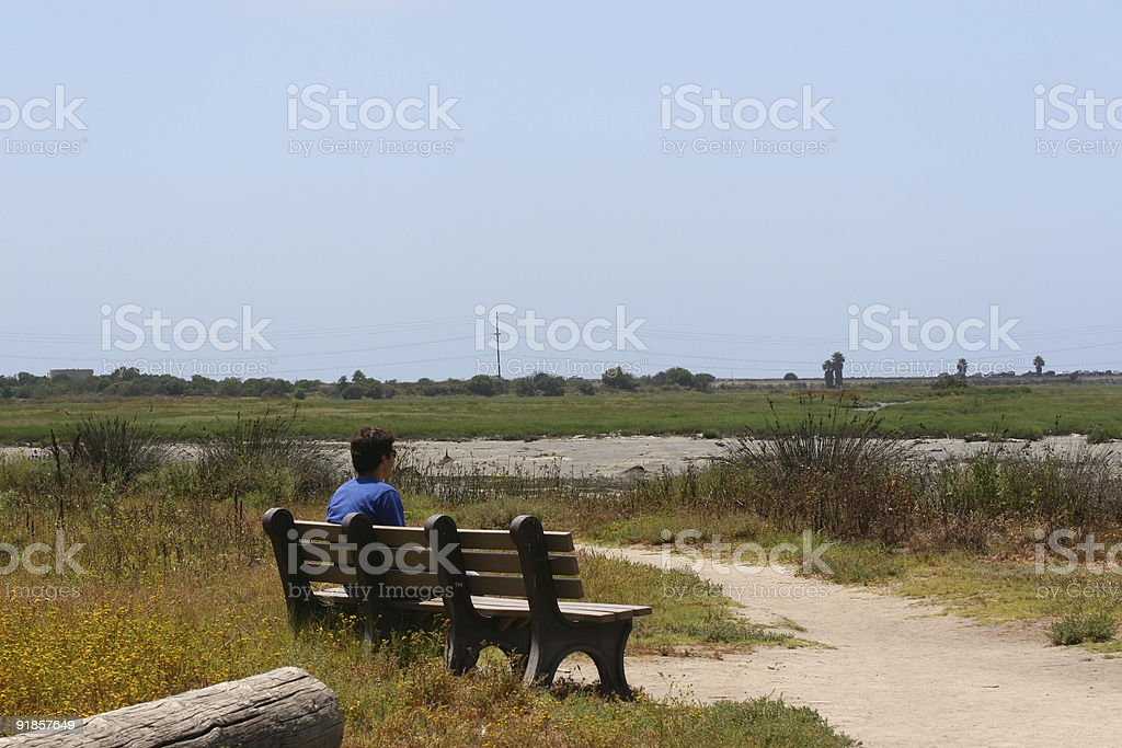Pondering on bench royalty-free stock photo