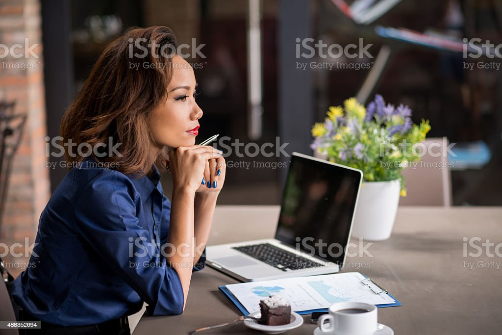 Pondering over ideas for stock photo
