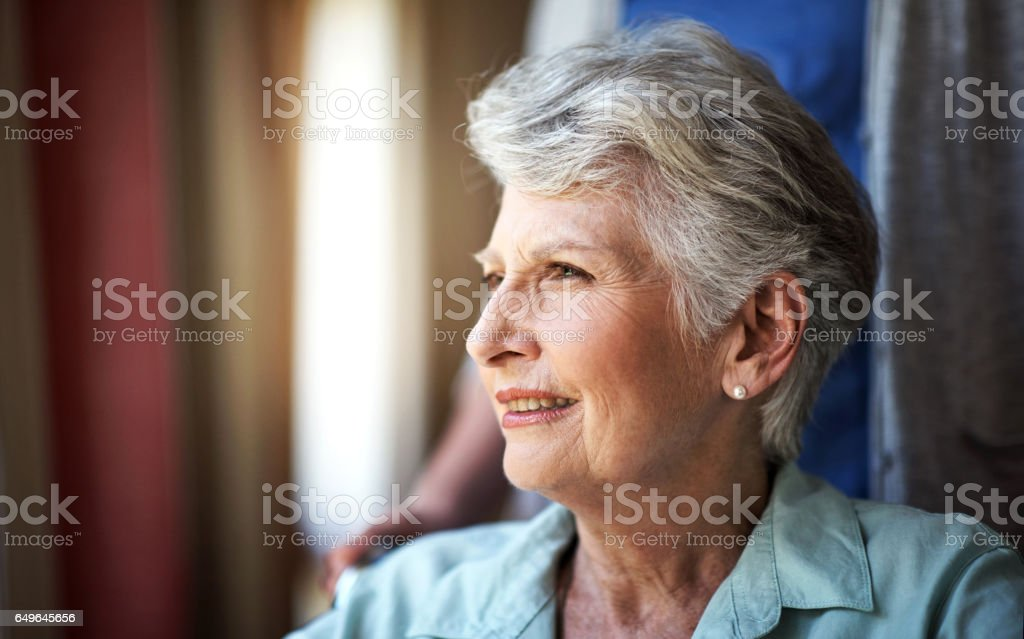 Pondering over the passage of time stock photo