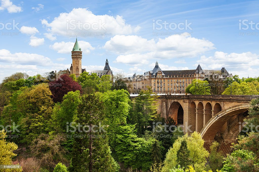 Pont Adolphe and State Saving Bank in  Luxemburg stock photo