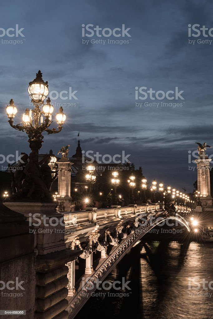 Pont Alexander III at dusk stock photo