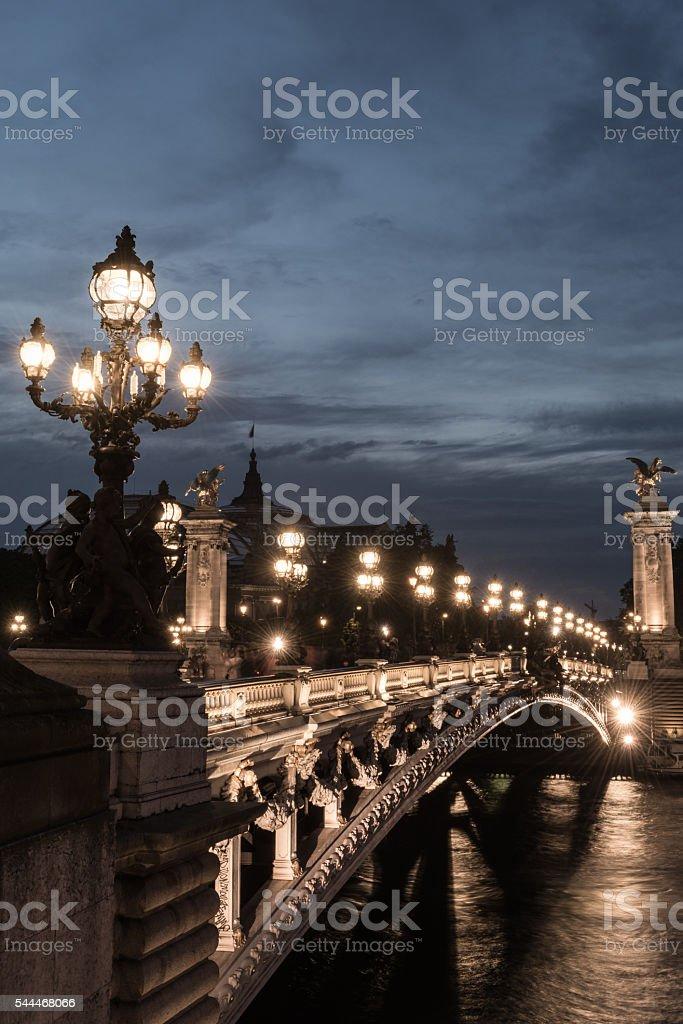 Pont Alexander III at dusk stock photo